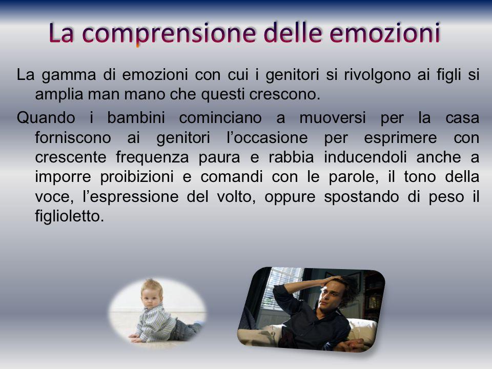 La gamma di emozioni con cui i genitori si rivolgono ai figli si amplia man mano che questi crescono. Quando i bambini cominciano a muoversi per la ca