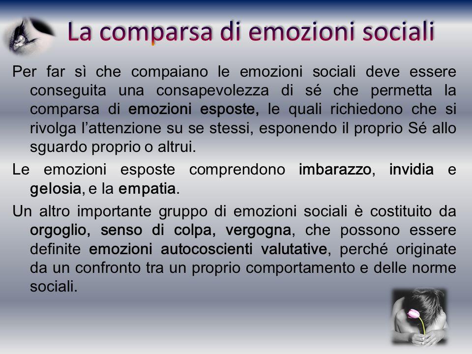 Per far sì che compaiano le emozioni sociali deve essere conseguita una consapevolezza di sé che permetta la comparsa di emozioni esposte, le quali ri