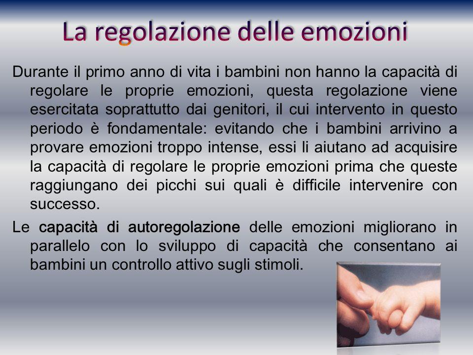 Durante il primo anno di vita i bambini non hanno la capacità di regolare le proprie emozioni, questa regolazione viene esercitata soprattutto dai gen