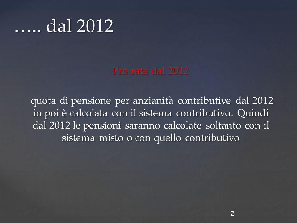 Pro rata dal 2012 quota di pensione per anzianità contributive dal 2012 in poi è calcolata con il sistema contributivo.