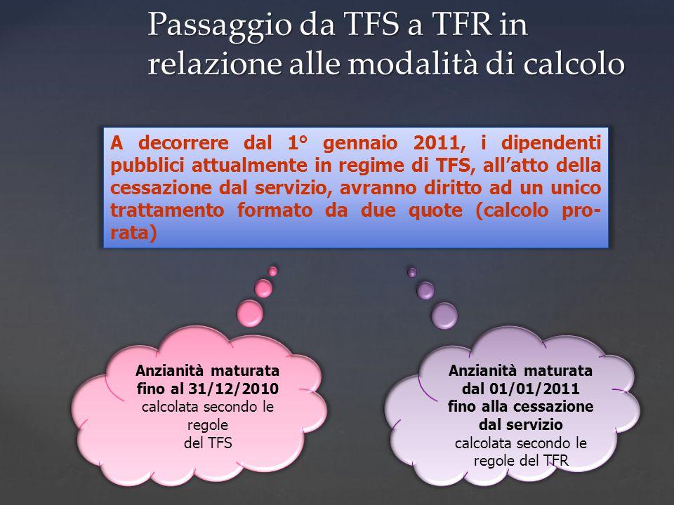 A decorrere dal 1° gennaio 2011, i dipendenti pubblici attualmente in regime di TFS, all'atto della cessazione dal servizio, avranno diritto ad un unico trattamento formato da due quote (calcolo pro- rata) Anzianità maturata fino al 31/12/2010 calcolata secondo le regole del TFS Anzianità maturata dal 01/01/2011 fino alla cessazione dal servizio calcolata secondo le regole del TFR Passaggio da TFS a TFR in relazione alle modalità di calcolo
