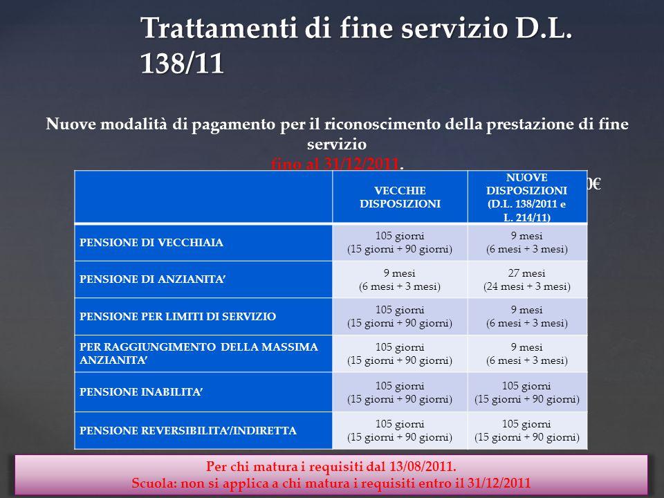 Nuove modalità di pagamento per il riconoscimento della prestazione di fine servizio fino al 31/12/2011.