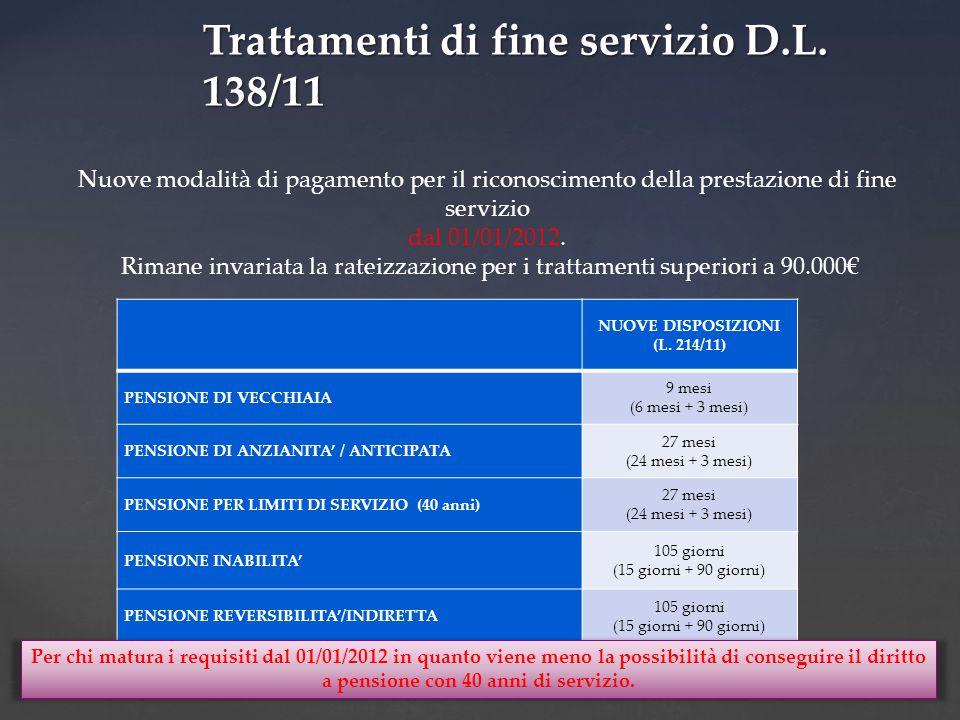 Nuove modalità di pagamento per il riconoscimento della prestazione di fine servizio dal 01/01/2012.