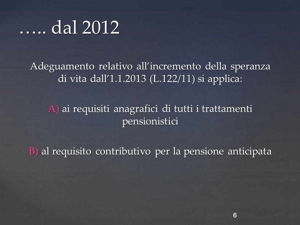 Adeguamento relativo all'incremento della speranza di vita dall'1.1.2013 (L.122/11) si applica: A) ai requisiti anagrafici di tutti i trattamenti pensionistici B) al requisito contributivo per la pensione anticipata 6 …..