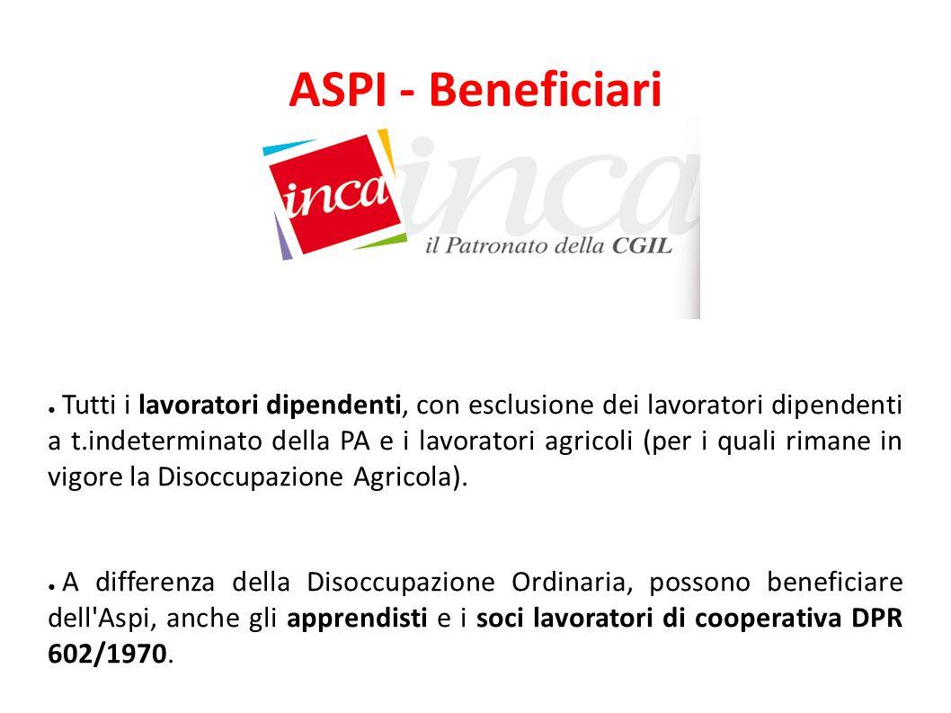 ASPI - Requisiti ● Essere in stato di disoccupazione involontaria*, ossia la condizione nella quale un soggetto privo di lavoro, sia immediatamente disponibile allo svolgimento e alla ricerca di una attività lavorativa.