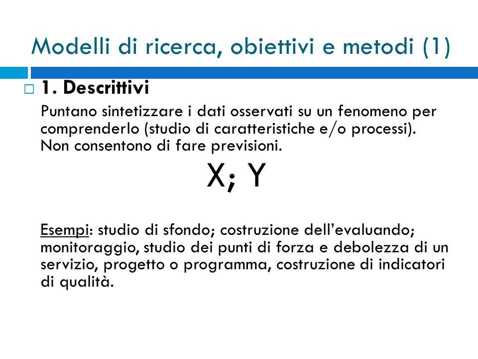 Modelli di ricerca, obiettivi e metodi (1)  1.