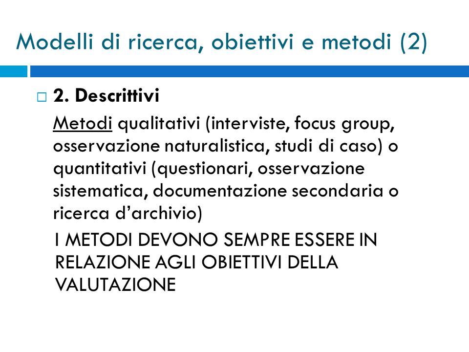  2. Descrittivi Metodi qualitativi (interviste, focus group, osservazione naturalistica, studi di caso) o quantitativi (questionari, osservazione sis