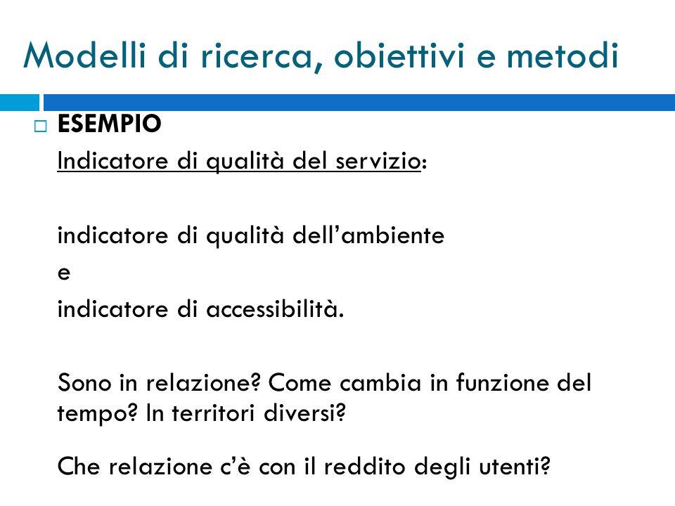  ESEMPIO Indicatore di qualità del servizio: indicatore di qualità dell'ambiente e indicatore di accessibilità.