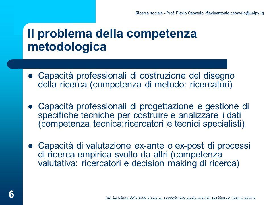Ricerca sociale - Prof.