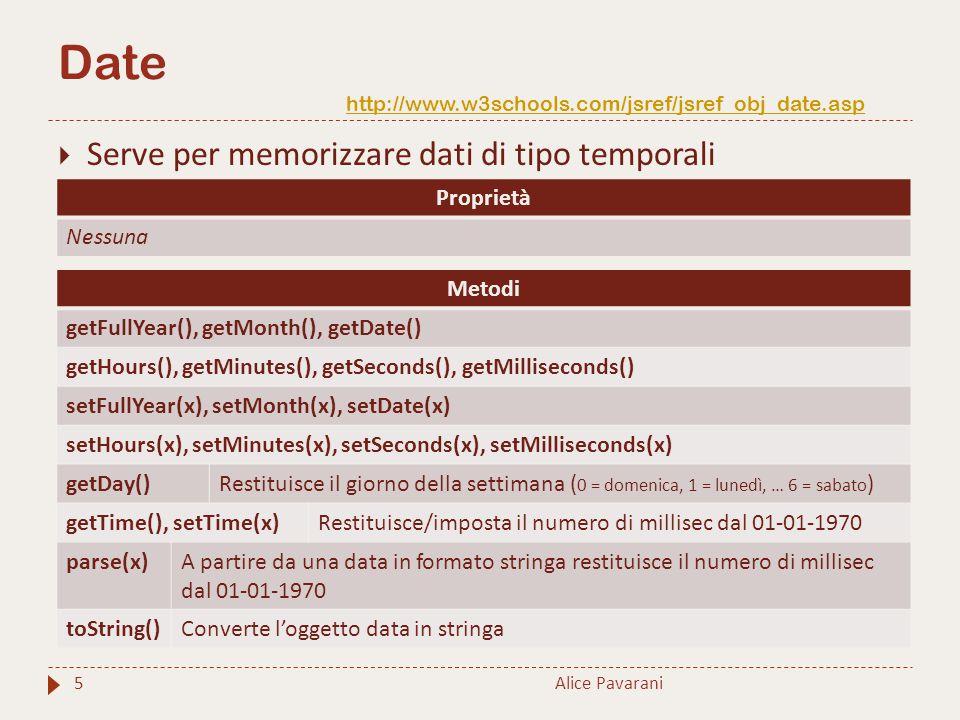 Date http://www.w3schools.com/jsref/jsref_obj_date.asp http://www.w3schools.com/jsref/jsref_obj_date.asp Alice Pavarani5  Serve per memorizzare dati di tipo temporali Proprietà Nessuna Metodi getFullYear(), getMonth(), getDate() getHours(), getMinutes(), getSeconds(), getMilliseconds() setFullYear(x), setMonth(x), setDate(x) setHours(x), setMinutes(x), setSeconds(x), setMilliseconds(x) getDay()Restituisce il giorno della settimana ( 0 = domenica, 1 = lunedì, … 6 = sabato ) getTime(), setTime(x)Restituisce/imposta il numero di millisec dal 01-01-1970 parse(x)A partire da una data in formato stringa restituisce il numero di millisec dal 01-01-1970 toString()Converte l'oggetto data in stringa