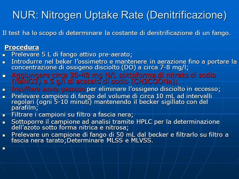 NUR: Nitrogen Uptake Rate (Denitrificazione) Il test ha lo scopo di determinare la costante di denitrificazione di un fango. Procedura Procedura Prele