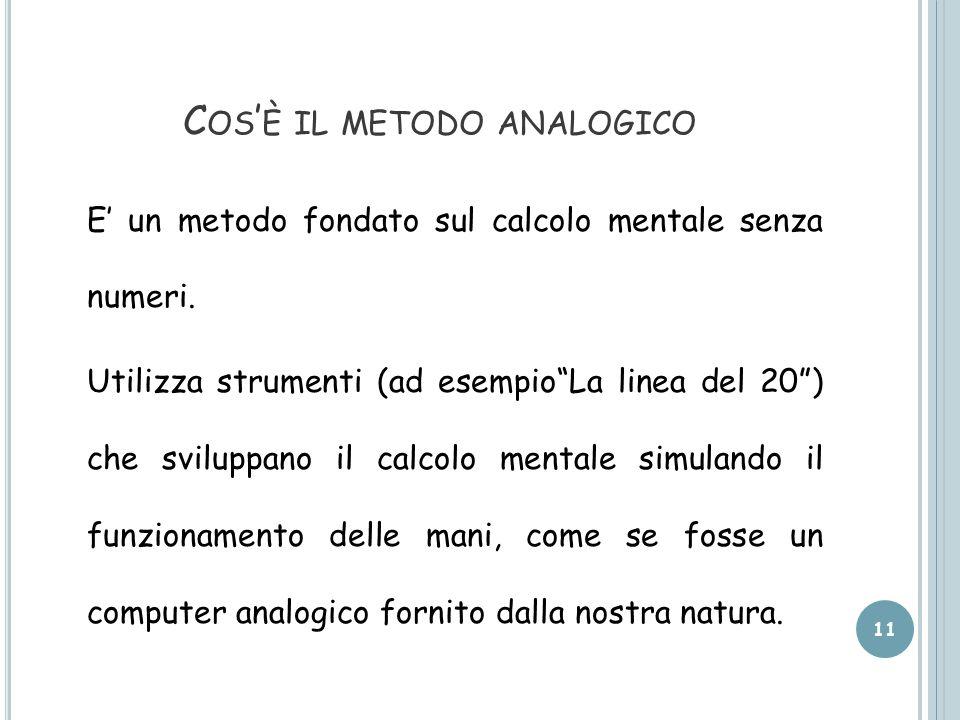 C OS ' È IL METODO ANALOGICO E' un metodo fondato sul calcolo mentale senza numeri.