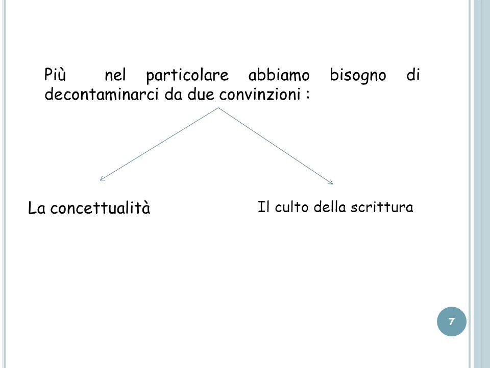 Più nel particolare abbiamo bisogno di decontaminarci da due convinzioni : 7 La concettualità Il culto della scrittura