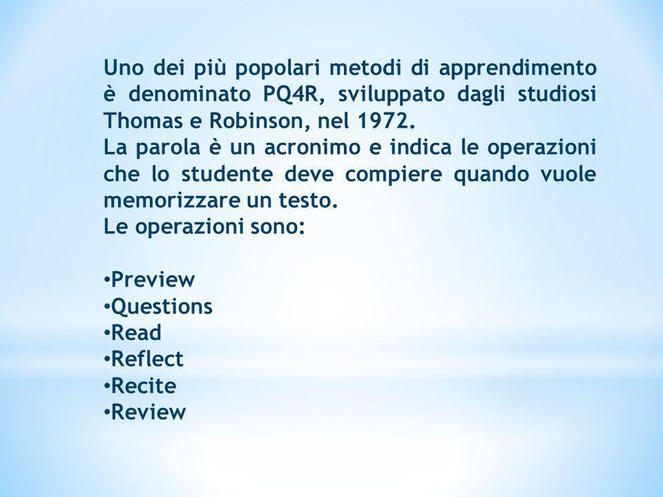 Uno dei più popolari metodi di apprendimento è denominato PQ4R, sviluppato dagli studiosi Thomas e Robinson, nel 1972. La parola è un acronimo e indic
