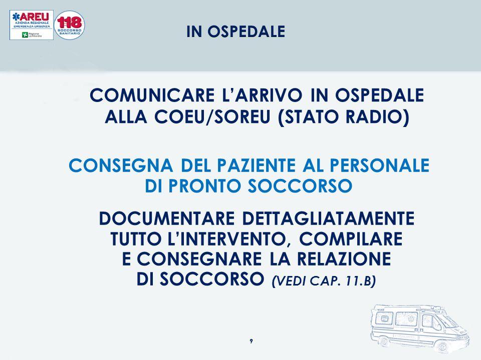 COMUNICARE LA PARTENZA DAL POSTO ALLA COEU/SOREU (STATO RADIO) COMUNICARE ALLA COEU/SOREU EVENTUALI VARIAZIONI DELLE CONDIZIONI DEL PAZIENTE COMUNICAR