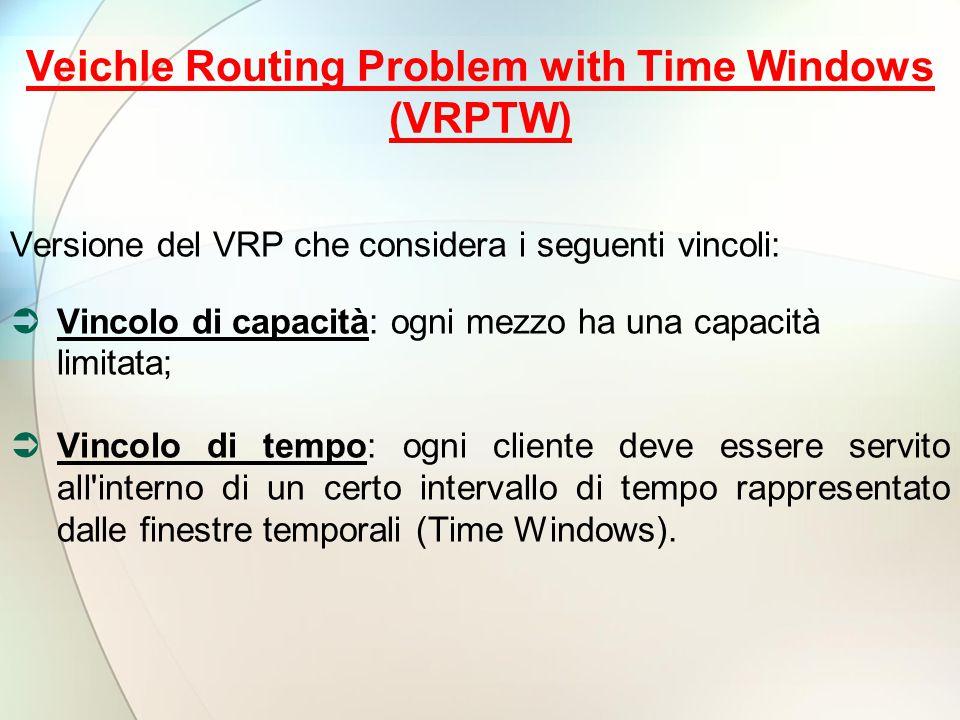 Versione del VRP che considera i seguenti vincoli:  Vincolo di capacità: ogni mezzo ha una capacità limitata;  Vincolo di tempo: ogni cliente deve essere servito all interno di un certo intervallo di tempo rappresentato dalle finestre temporali (Time Windows).