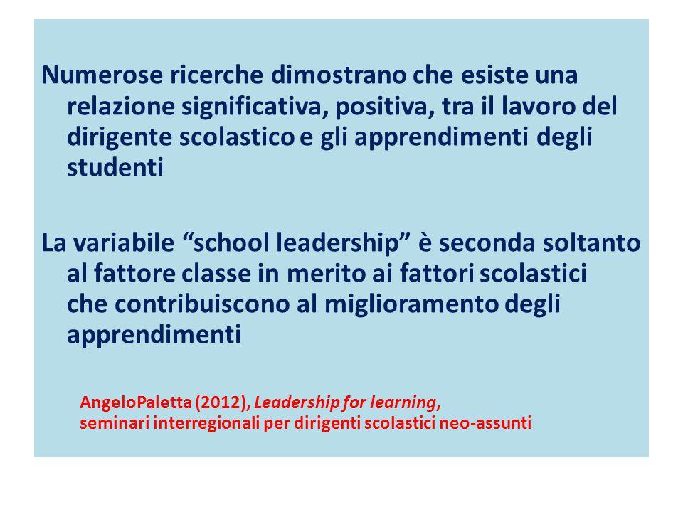 Numerose ricerche dimostrano che esiste una relazione significativa, positiva, tra il lavoro del dirigente scolastico e gli apprendimenti degli studen