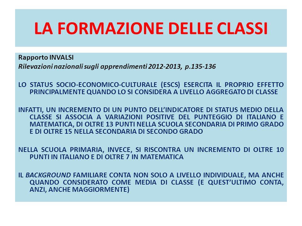 LA FORMAZIONE DELLE CLASSI Rapporto INVALSI Rilevazioni nazionali sugli apprendimenti 2012-2013, p.135-136 LO STATUS SOCIO-ECONOMICO-CULTURALE (ESCS)