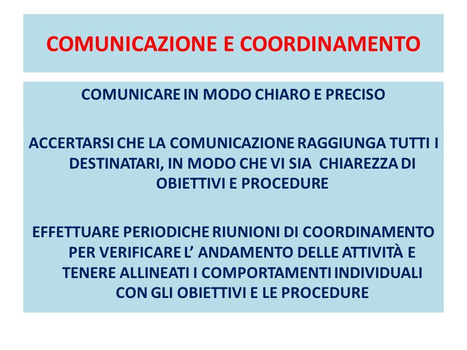 COMUNICAZIONE E COORDINAMENTO COMUNICARE IN MODO CHIARO E PRECISO ACCERTARSI CHE LA COMUNICAZIONE RAGGIUNGA TUTTI I DESTINATARI, IN MODO CHE VI SIA CH