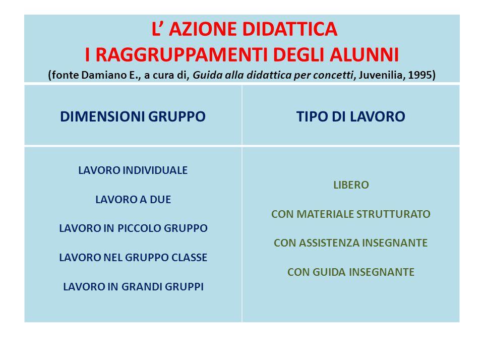 L' AZIONE DIDATTICA I RAGGRUPPAMENTI DEGLI ALUNNI (fonte Damiano E., a cura di, Guida alla didattica per concetti, Juvenilia, 1995) DIMENSIONI GRUPPOT