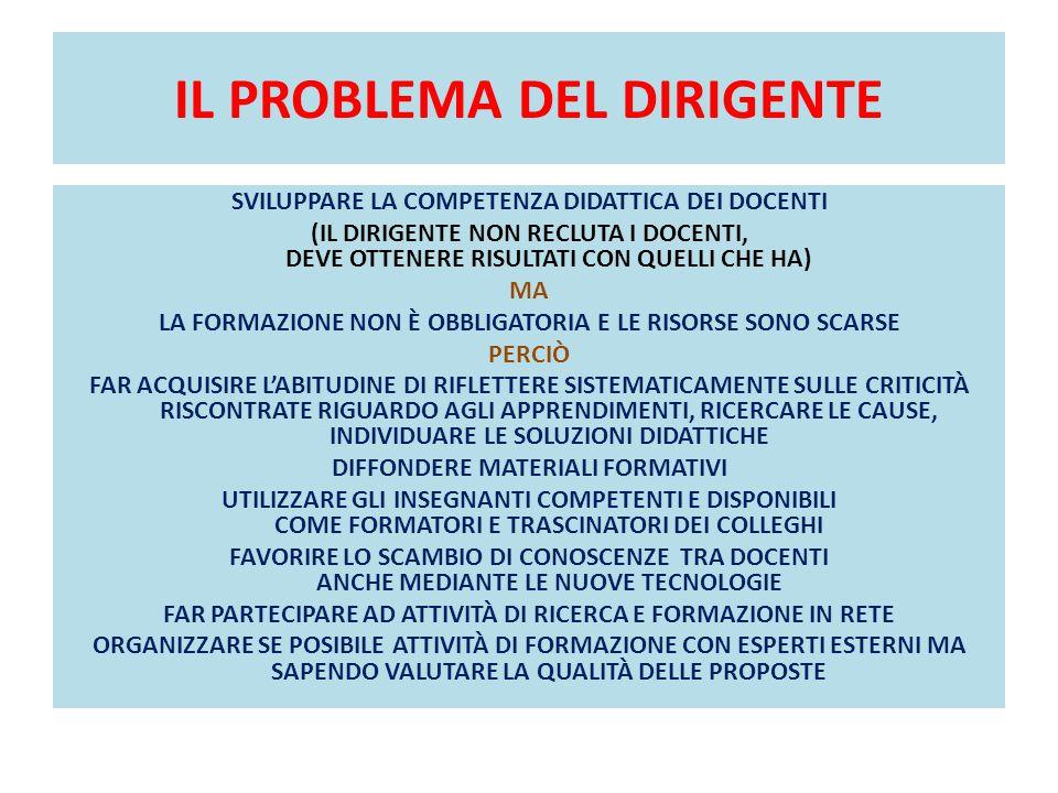 IL PROBLEMA DEL DIRIGENTE SVILUPPARE LA COMPETENZA DIDATTICA DEI DOCENTI (IL DIRIGENTE NON RECLUTA I DOCENTI, DEVE OTTENERE RISULTATI CON QUELLI CHE H