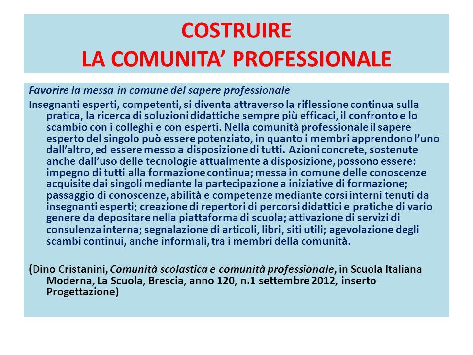 COSTRUIRE LA COMUNITA' PROFESSIONALE Favorire la messa in comune del sapere professionale Insegnanti esperti, competenti, si diventa attraverso la rif