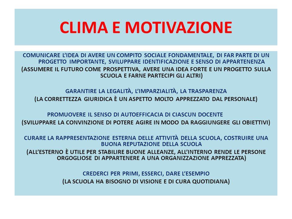 CLIMA E MOTIVAZIONE COMUNICARE L'IDEA DI AVERE UN COMPITO SOCIALE FONDAMENTALE, DI FAR PARTE DI UN PROGETTO IMPORTANTE, SVILUPPARE IDENTIFICAZIONE E S