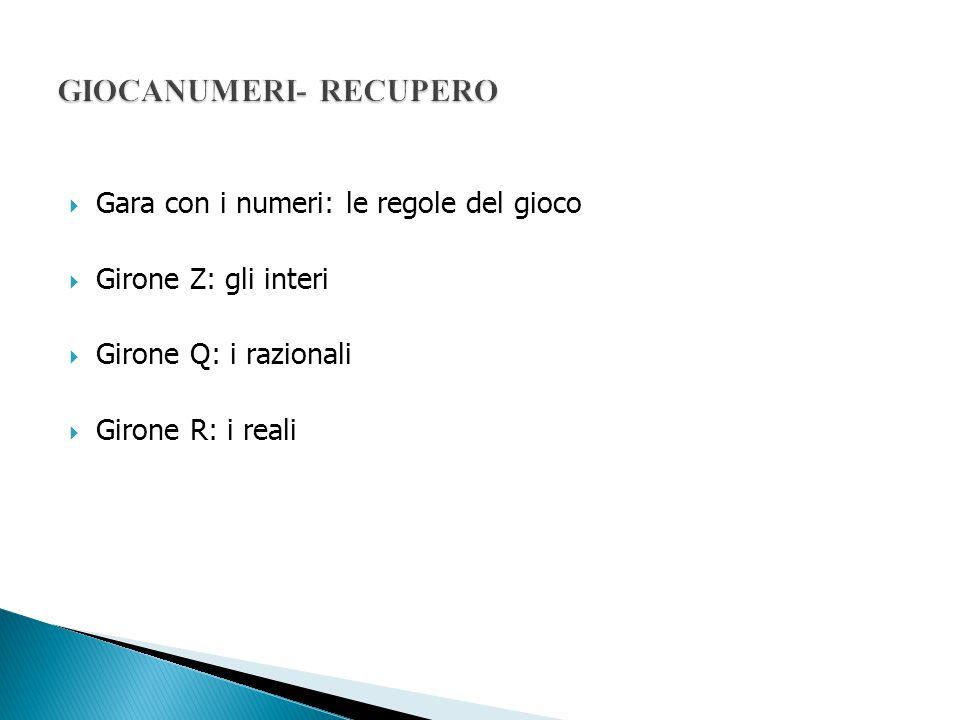  Gara con i numeri: le regole del gioco  Girone Z: gli interi  Girone Q: i razionali  Girone R: i reali