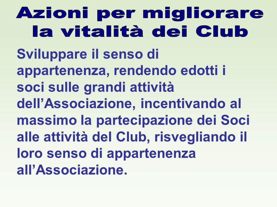 Sviluppare il senso di appartenenza, rendendo edotti i soci sulle grandi attività dell'Associazione, incentivando al massimo la partecipazione dei Soci alle attività del Club, risvegliando il loro senso di appartenenza all'Associazione.