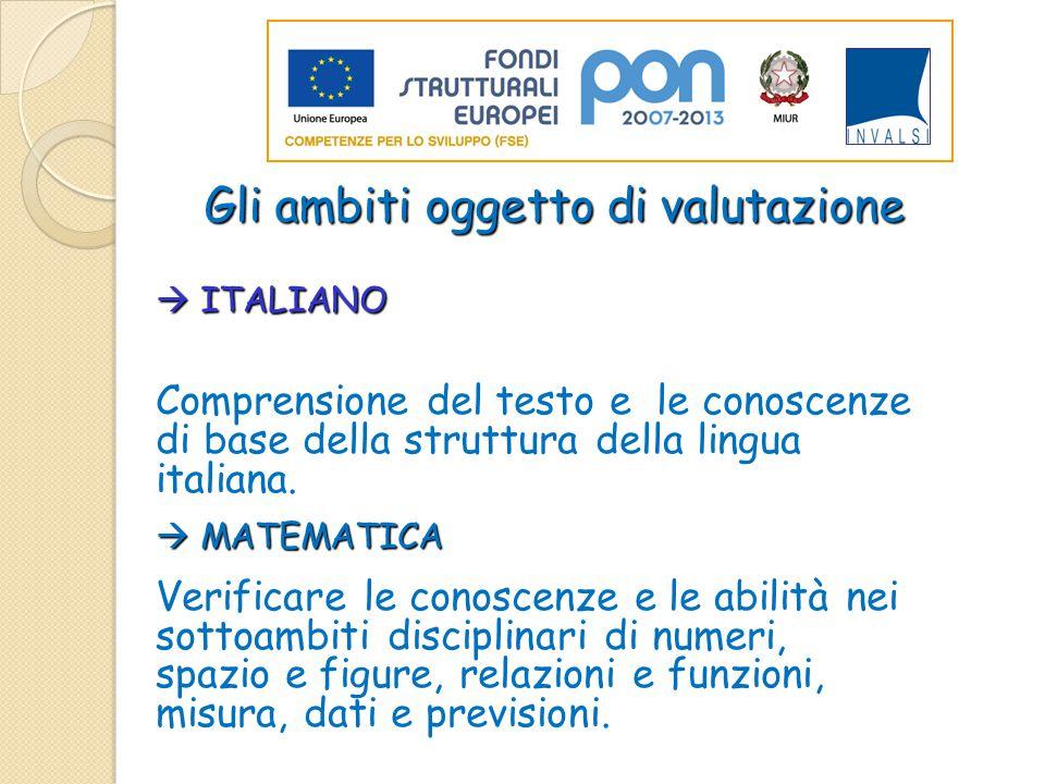 Gli ambiti oggetto di valutazione  ITALIANO per accertare la capacità di Comprensione del testo e le conoscenze di base della struttura della lingua