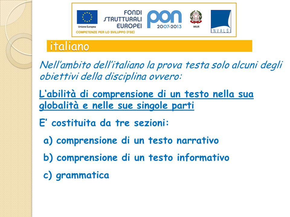 italiano Nell'ambito dell'italiano la prova testa solo alcuni degli obiettivi della disciplina ovvero: L'abilità di comprensione di un testo nella sua