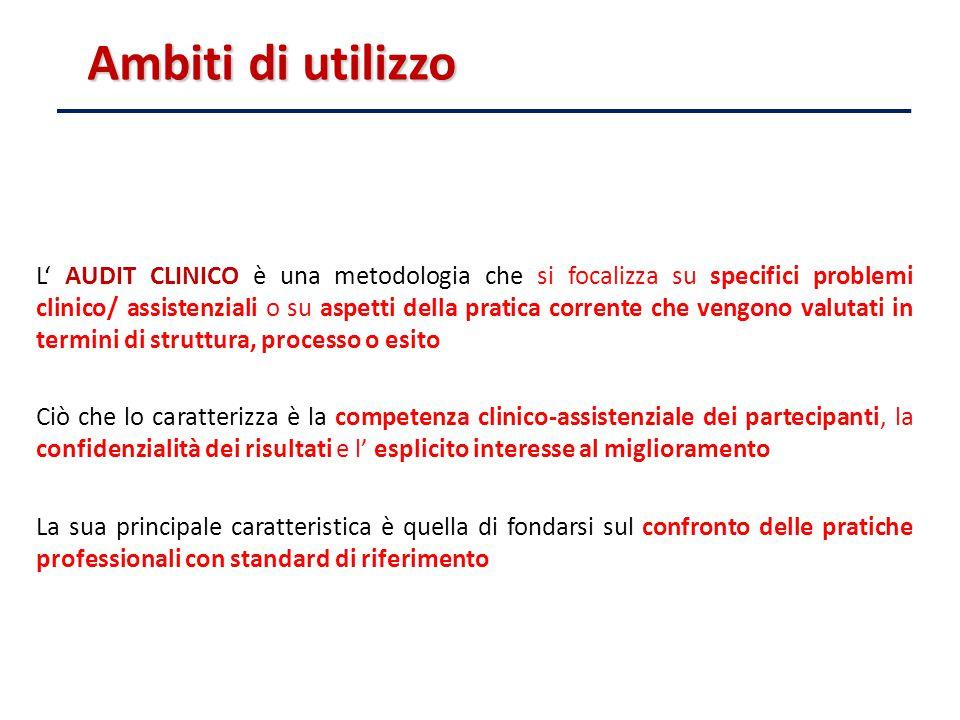 Ambiti di utilizzo L' AUDIT CLINICO è una metodologia che si focalizza su specifici problemi clinico/ assistenziali o su aspetti della pratica corrent