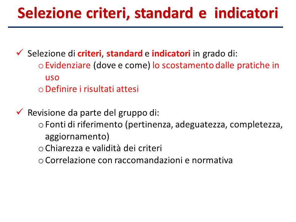 Selezione criteri, standard e indicatori Selezione di criteri, standard e indicatori in grado di: o Evidenziare (dove e come) lo scostamento dalle pra