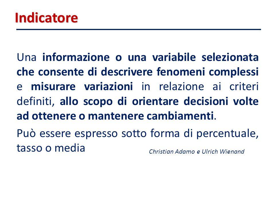 Indicatore Una informazione o una variabile selezionata che consente di descrivere fenomeni complessi e misurare variazioni in relazione ai criteri de