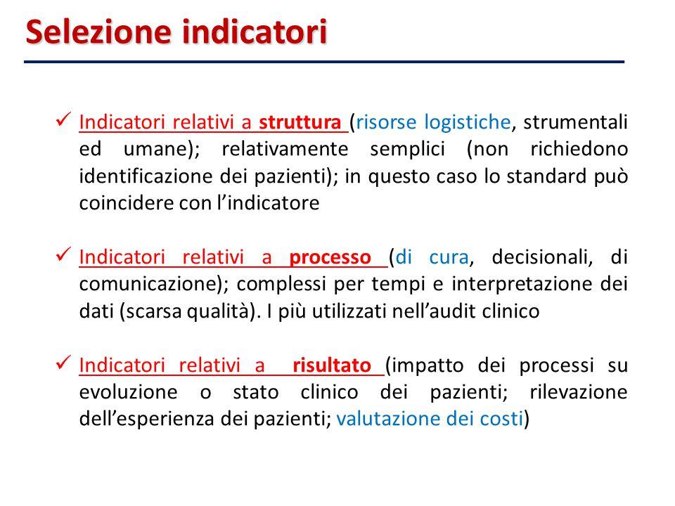 Indicatori relativi a struttura (risorse logistiche, strumentali ed umane); relativamente semplici (non richiedono identificazione dei pazienti); in q