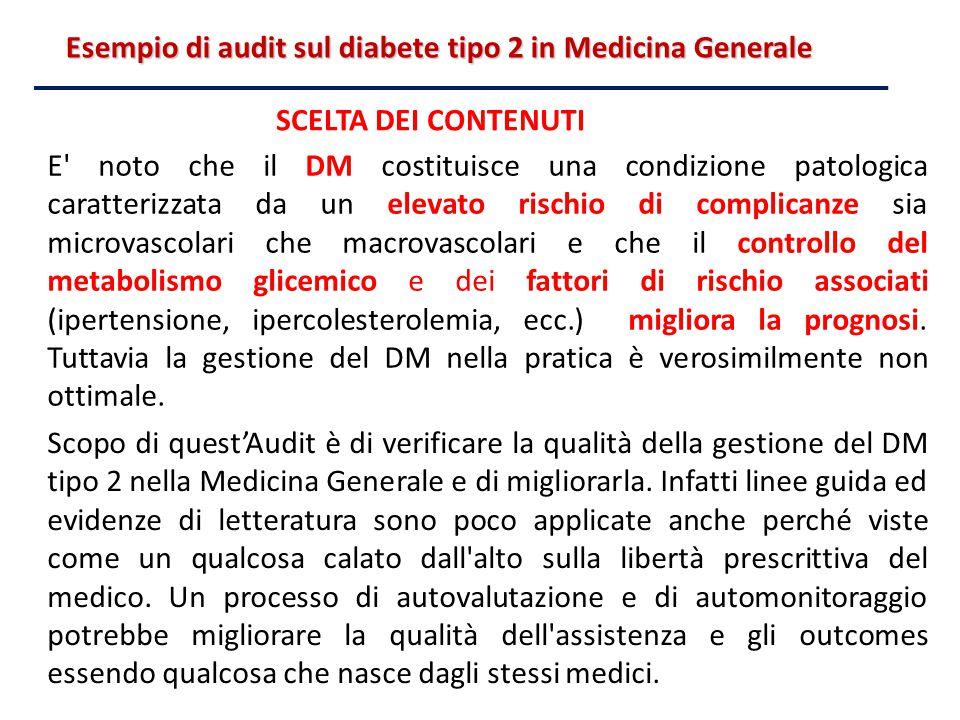 Esempio di audit sul diabete tipo 2 in Medicina Generale E' noto che il DM costituisce una condizione patologica caratterizzata da un elevato rischio