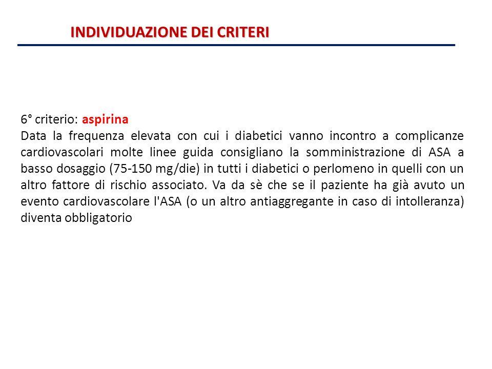 6° criterio: aspirina Data la frequenza elevata con cui i diabetici vanno incontro a complicanze cardiovascolari molte linee guida consigliano la somm