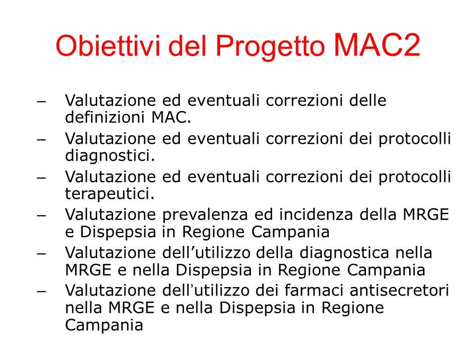 Obiettivi del Progetto MAC2 – Valutazione ed eventuali correzioni delle definizioni MAC. – Valutazione ed eventuali correzioni dei protocolli diagnost
