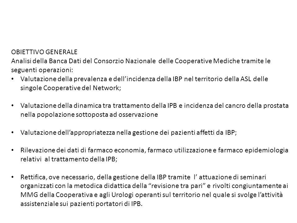 OBIETTIVO GENERALE Analisi della Banca Dati del Consorzio Nazionale delle Cooperative Mediche tramite le seguenti operazioni: Valutazione della preval
