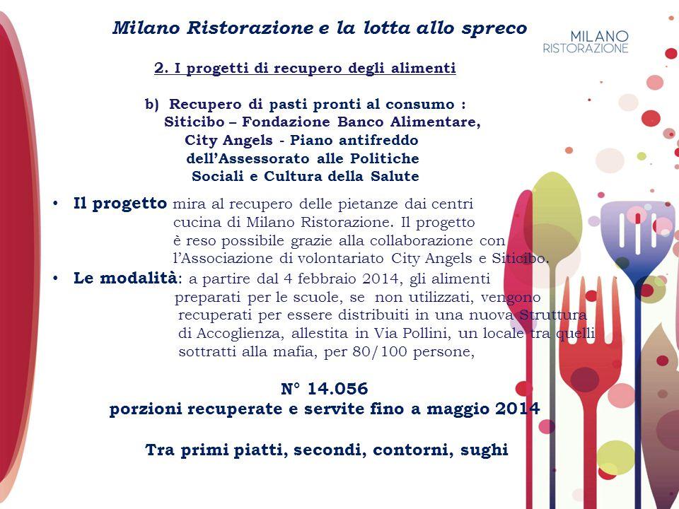Milano Ristorazione e la lotta allo spreco 2. I progetti di recupero degli alimenti b) Recupero di pasti pronti al consumo : Siticibo – Fondazione Ban