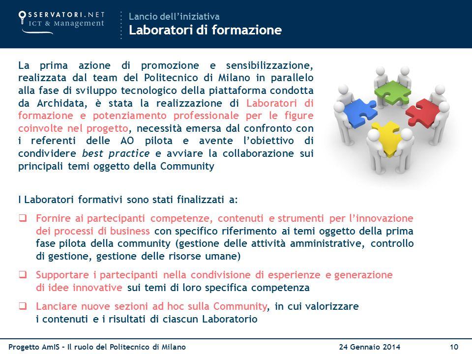 Progetto AmIS – Il ruolo del Politecnico di Milano 24 Gennaio 201410 La prima azione di promozione e sensibilizzazione, realizzata dal team del Polite