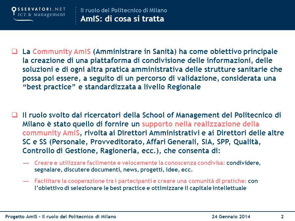 Progetto AmIS – Il ruolo del Politecnico di Milano 24 Gennaio 20142  La Community AmIS (Amministrare in Sanità) ha come obiettivo principale la creaz