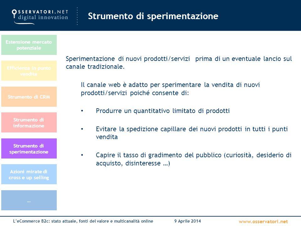 www.osservatori.net L'eCommerce B2c: stato attuale, fonti del valore e multicanalità online9 Aprile 2014 Strumento di sperimentazione Strumento di CRM