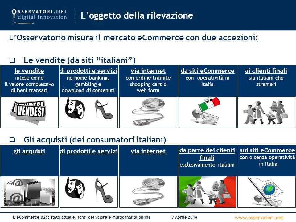 Le fonti del valore del canale online Osservatorio eCommerce B2c Netcomm - School of Management Politecnico di Milano 9 Aprile 2014
