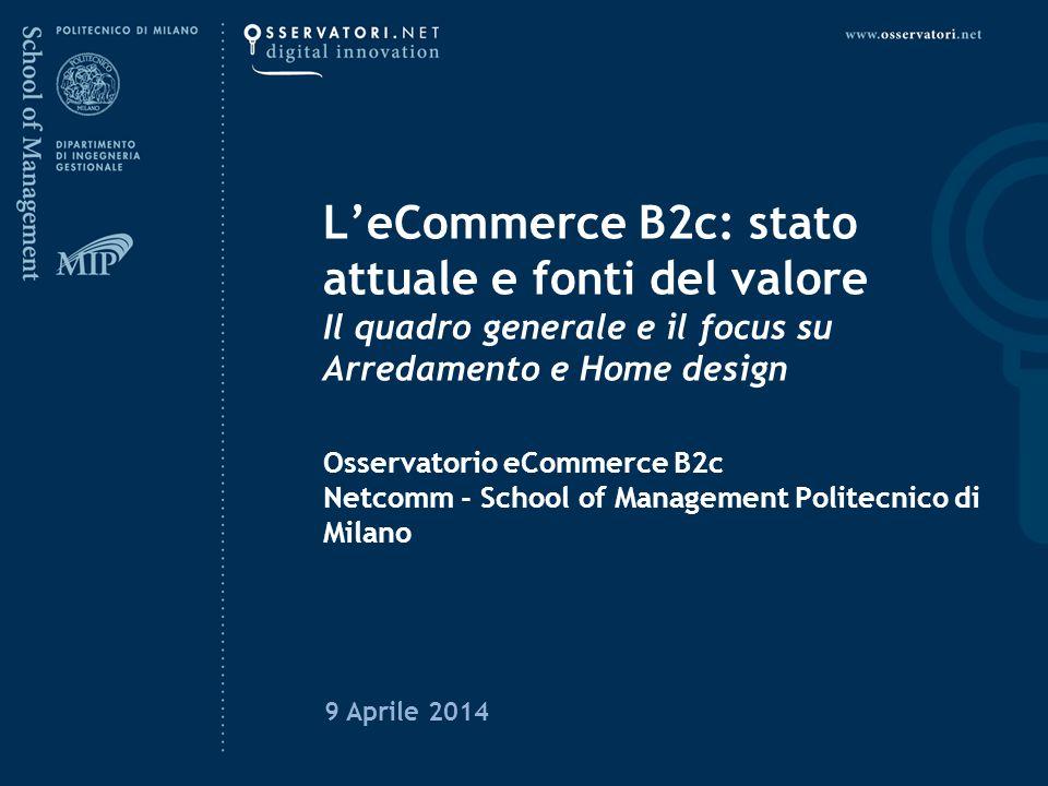 L'eCommerce B2c: stato attuale e fonti del valore Il quadro generale e il focus su Arredamento e Home design Osservatorio eCommerce B2c Netcomm - Scho