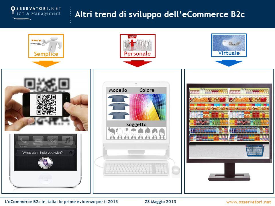 www.osservatori.net L'eCommerce B2c in Italia: le prime evidenze per il 201328 Maggio 2013 Altri trend di sviluppo dell'eCommerce B2c Semplice Persona
