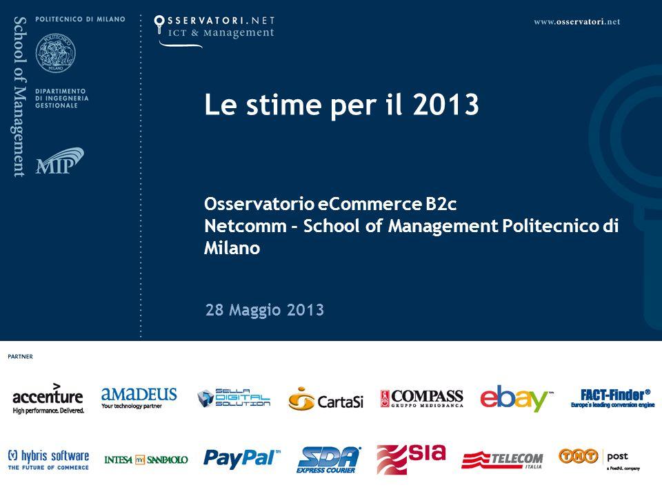 www.osservatori.net L eCommerce B2c in Italia: le prime evidenze per il 201328 Maggio 2013 Valore delle vendite da siti italiani La dinamica delle vendite eCommerce B2c in Italia * Previsione ad Aprile 2013 +17% mln € 17% +0% +14% +23% 19% 11.242 mln € 19%