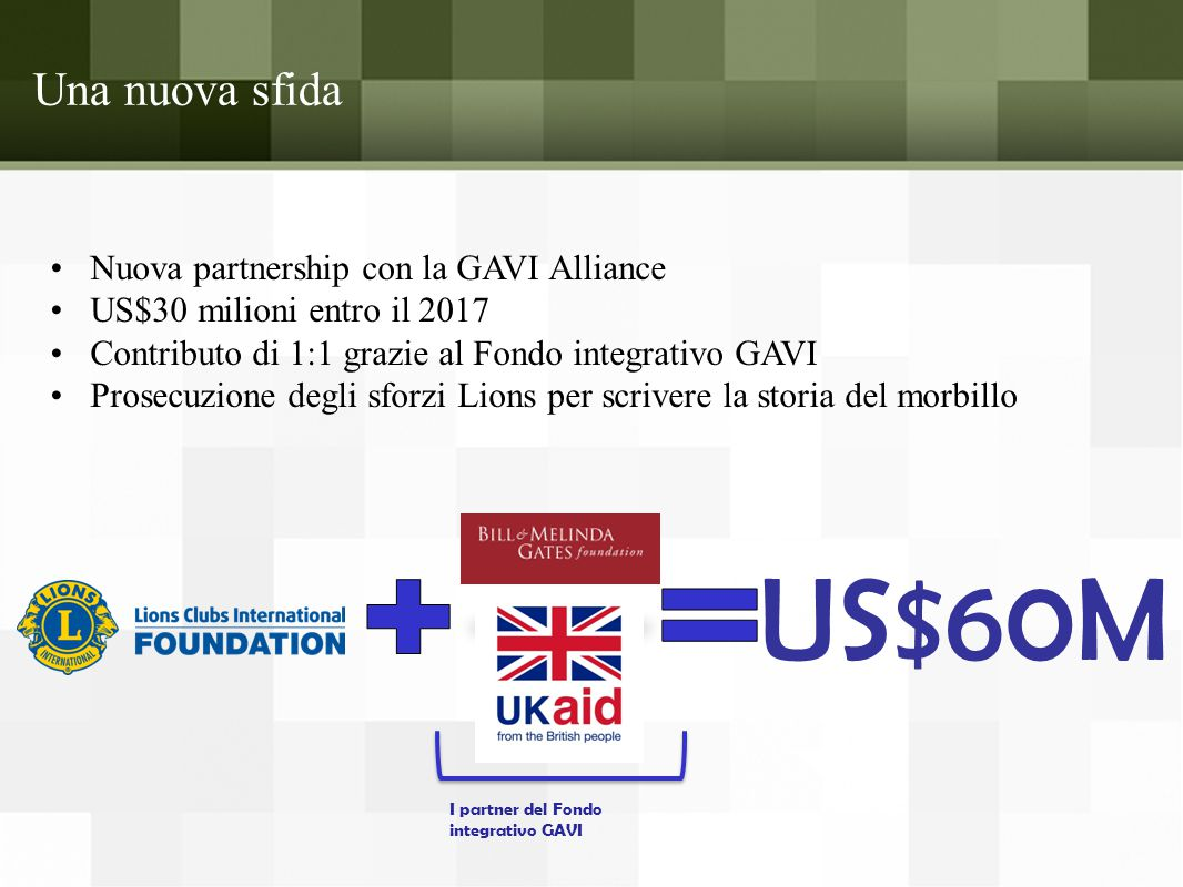 Una nuova sfida Nuova partnership con la GAVI Alliance US$30 milioni entro il 2017 Contributo di 1:1 grazie al Fondo integrativo GAVI Prosecuzione degli sforzi Lions per scrivere la storia del morbillo US$60M I partner del Fondo integrativo GAVI