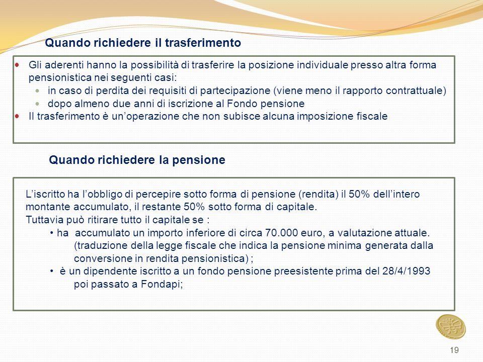 Gli aderenti hanno la possibilità di trasferire la posizione individuale presso altra forma pensionistica nei seguenti casi: in caso di perdita dei re