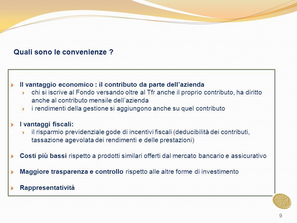 Il vantaggio economico : il contributo da parte dell'azienda chi si iscrive al Fondo versando oltre al Tfr anche il proprio contributo, ha diritto anc